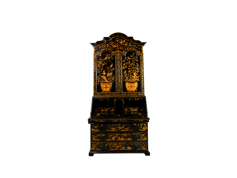 English chinoiserie bureau cabinet